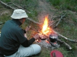 Cooking dinner while wild camping
