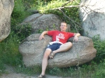 Pete relaxing at Thracian rock formations - apparently this was the King's chair