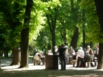 old men playing chess in belgrade park