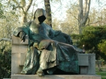 grim reaper (note the beer we added!) in budapest park - creepy!