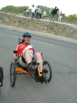 pete on a recumbent, belonging to a guy we met in Szentendre, on our way into budapest