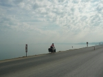 black sea coastal cycling - just before he hit a bollard and fell off!