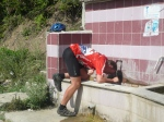 the established head-under-tap method of cooling down while cycling up to a pass