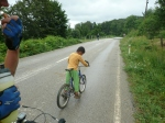 friendly kid overtaking us!
