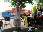 Christine in her Iranian cycling gear. Note it was 40c in the shade when that was taken - sweaty!