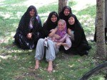Christine being 'adopted' by local women in a park in Bostanabad. They were far more open and forward with Christine than with the men.