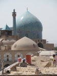 View of Imam Khomeini mosque in Esfahan (and some workmen who must have been very hot!)