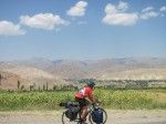 Cycling towards the mountains, soon after entering Tajikistan
