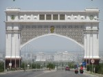 Somewhat ostentatious entrance to Ashgabat
