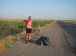 Hitching after Pete's bike broke 70km out of Ashgabat