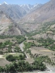 Afghan village on alluvial plain
