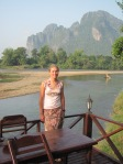 View from sundeck in Cocoon resort in Vang Vieng.