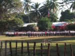 School children lined up for registration and assembly
