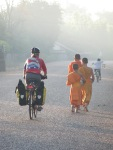 Monks on their way to receive alms (their food for the day) from the locals, early in the morning