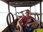 Taking our bikes on the short boat ride to the island of Don Det, Laos.