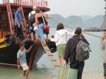 Walking the very narrow plank onto the boat to leave Monkey Island.